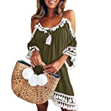 MILIMIEYIK Blouse Dresses, Women's Summer Cold Shoulder Tunic Top Swing T-Shirt Loose Dress Casual Sundress Bodycon Party Dress