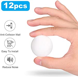 12 PCS Door Stopper Wall Protector, Round Door Handle Bumper with Self Adhesive, Silicon Wall Door Stop Pads, 1.57 Inches Door Knob Wall Shield Guard White