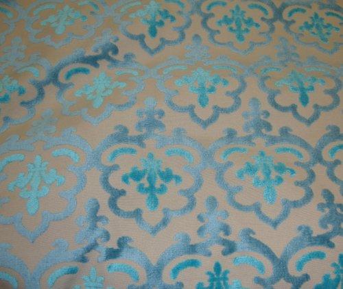 - Peacock Damsk Embossed Raised Velvet Upholstery Drapery Fabric Per Yard