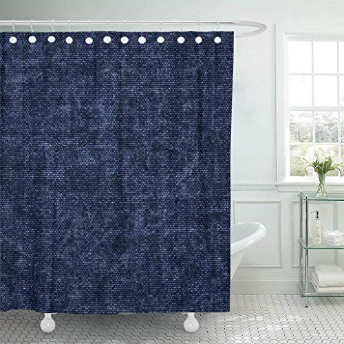 (PAUSEBOLL Navy Canvas Abstract Indigo Dyed Chambray Creative Dark Dotted Shower Curtain Bathroom with Hooks,Waterproof Polyester Curtain )