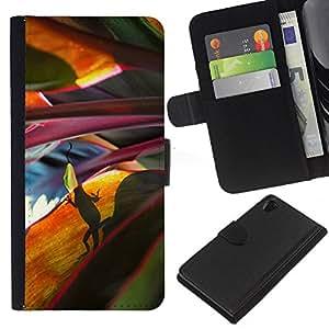 KLONGSHOP // Tirón de la caja Cartera de cuero con ranuras para tarjetas - Hojas Naturaleza escena de la selva - Sony Xperia Z2 D6502 //