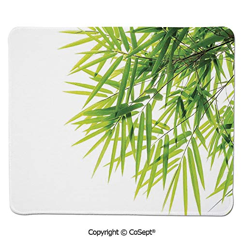 "Premium-Textured Mouse pad,Bamboo Leaf Illustration Icon for Wellbeing Health Fresh Purity Tranquil Art Print,Non-Slip Water-Resistant Rubber Base Cloth Computer Mouse Mat (15.74"" x 23.62""),Green Wh"