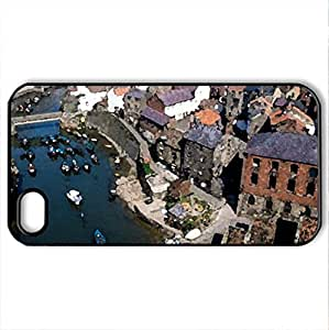 Staithes Near whitby England - Case Cover for iPhone 4 and 4s (Houses Series, Watercolor style, Black)