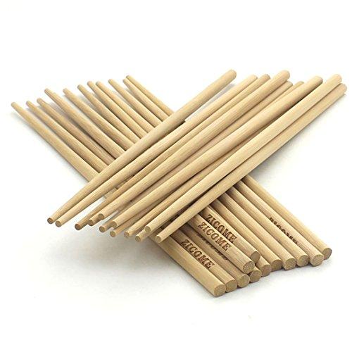 Round Chopsticks - Zicome 12 Pair Chinese Natural Bamboo Chopsticks, 27cm Long