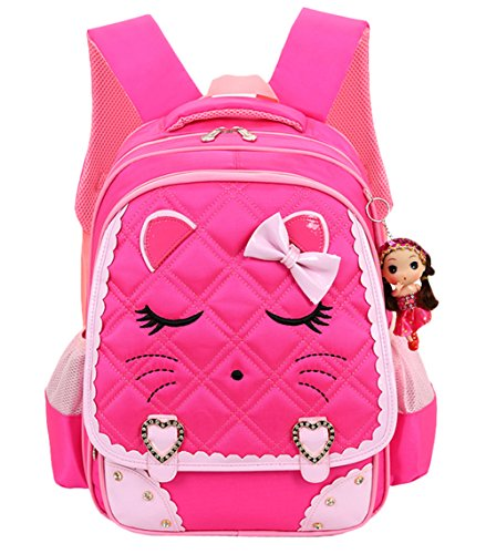 Cat Face Waterproof Girls Backpack Kids School Bookbag for Primary Students Rose Red]()