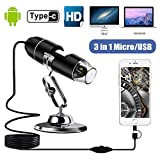 TAOPE Mini USB Digital Handheld microscopes Camera, 50 to 1000x Magnification Endoscope with 8 LED Light Adjustable Metal Stand, Compatible with Mac Window Android (1920x1080P)