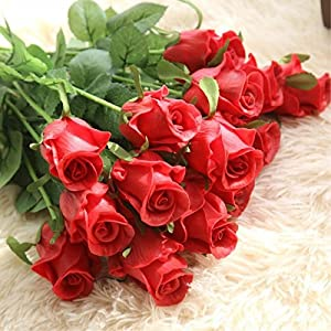 XGM GOU Artificial Flowers DIY Wedding Decorations 9 Pcs/Lot Real Touch Rose Flowers Bridal Bouquets Home Decor Artificial Flores 1