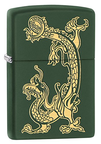 Zippo Lighter: Engraved Dragon - Green Matte 79521