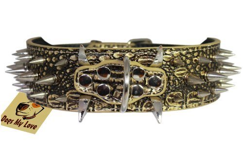"""17""""-20.5"""" Bronze Faux Croc Leather Spiked Dog Collar 2"""" Wide, 40 Large Spikes"""