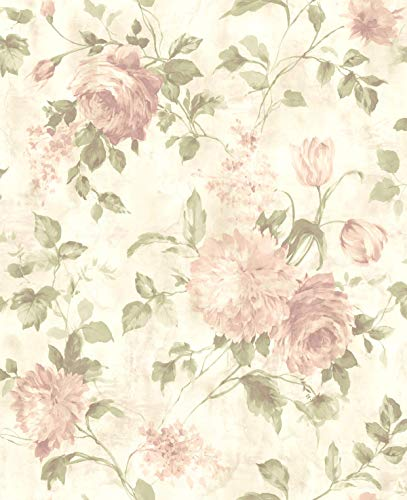 Victorian Floral Wallpaper Cream Bronze Green Chinoiserie Beautiful Bathroom Wallcovering ()