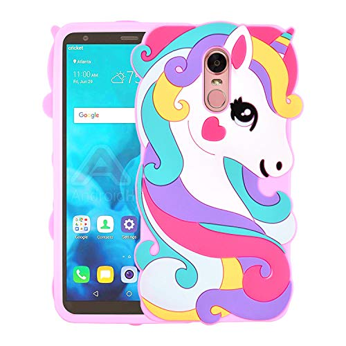 Allsky Case for LG Stylo 4 Plus(Q710) /LG Q Stylus,Cartoon Soft Silicone Cute 3D Fun Cool Cover,Kawaii Unique Kids Girls Teens Animal Character Rubber Skin Shockproof Cases for LG Stylo4 Vivid Unicorn