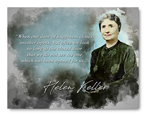 Ramini Brands Helen Keller Door of Happiness Inspirational Quote - 8 x 10 Unframed Print - Wall Art for Bedrooms, Offices, Living Rooms - Gift for Teachers, Librarians