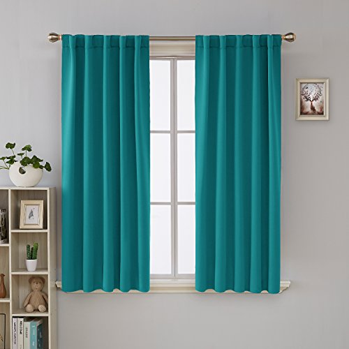 lackout Curtains for Kitchen Window Thermal Insulated Rod Pocket and Back Tab Curtains 42x45 Inch 2 Panels ()
