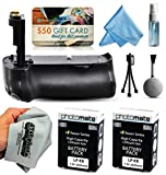 Multi Power Battery Grip + (2 Pack) Ultra High Capacity LP-E8 LPE8 Replacement Battery (2400mAh) for Prints + Lens Cleaning Kit for Canon EOS Rebel T2i T3i T4i T5i 550D 600D 650D 700D Kiss X4 X5 X6i X7i DSLR SLR Digital Camera (BG-E8 BGE8 Replacement)