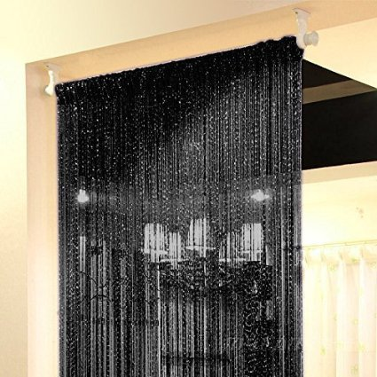WPKIRA Window Treatments Line Screens Curtain Rare Flat Silver Ribbon Door String Curtain Thread Fringe Window Panel Room Divider Cute Strip Tassel Party Events 39x78 Inch 1 Panel Black