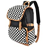 Premium Canvas Backpack Travel Shoulder School Bag Case for Apple MacBook Pro with Retina display 13'' 15''/HP/Dell/Lenovo/ASUS/Toshiba/Acer 15.6 inch Laptops (White and Black Diamond)