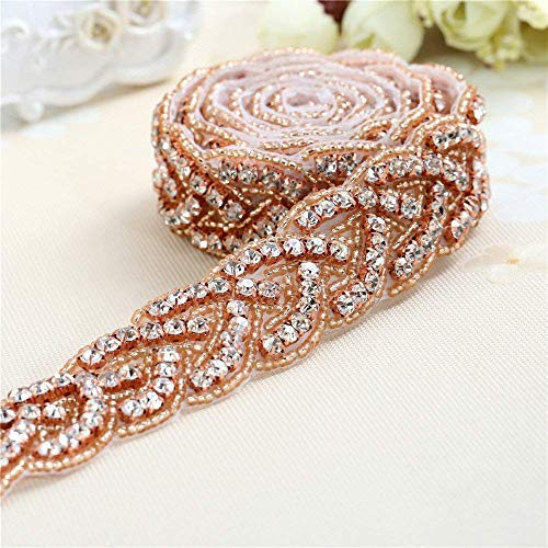"""Rose Gold Bridal Gown Sash Rhinestone Applique DIY Wedding Belt by Sewing or Ironing on -1 Piece(1""""36""""in)"""