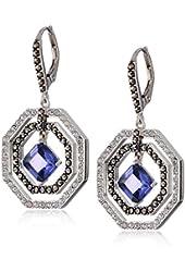 """Judith Jack """"Bold Bijoux"""" Sterling Silver Blue Cubic Zirconia Drama Drop Earrings"""