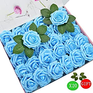 DerBlue 60pcs Artificial Roses Flowers Real Looking Fake Roses Artificial Foam Roses Decoration DIY for Wedding Bouquets,Arrangements Party Baby Shower Home Decorations-with Green Leaves 26