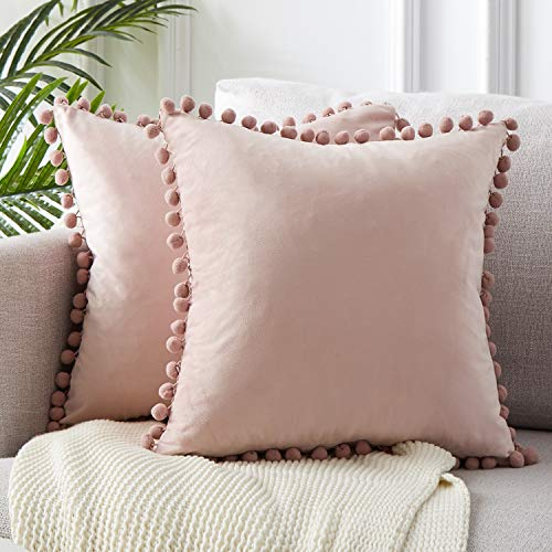 Top Finel Decorative Throw Pillow Covers for Couch Bed Soft Particles Velvet Solid Cushion Covers with Pom-poms 20 x 20 Inch 50 x 50 cm, Pack of 2, Blush -