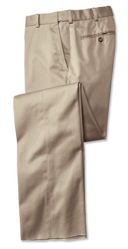 Orvis Wrinkle-free Comfort-waist Cotton Chinos - Plain Front / Wrinkle-free Comfort-waist Cotton Chinos, Khaki, 46W X 28L