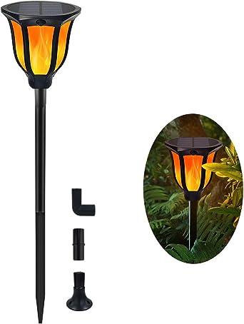 Luces Antorchas Solares de Llamas Jardín Exterior, Lámpara Antorcha con 96 LED Impermeable IP65, Exterior Paisaje Decoración Iluminación, ON/OFF Automático para Patio Jardín Camino Césped (1 pieza): Amazon.es: Iluminación