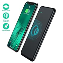 Wireless Portable Charger,TOVAOON 10000mAh Fast Charging Power Bank QI Battery Charger Pad,External Battery for Pack for iPhone 8/8 Plus,Samaung S7 S8 S9,Note 7 8,iPhone X