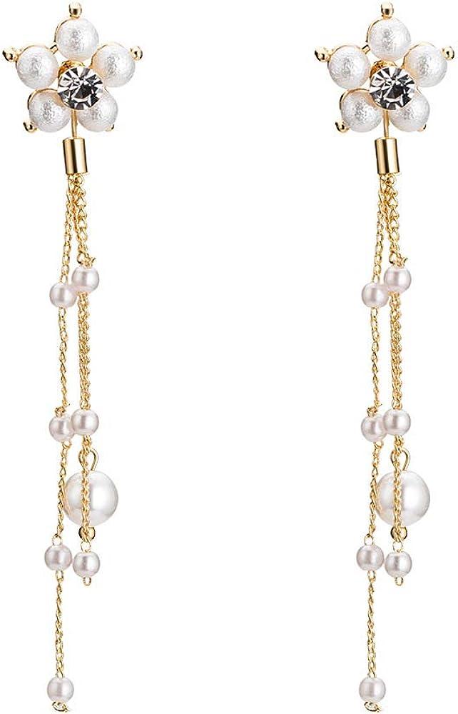 YAZILIND Elegante chapado en oro pendientes colgantes de flores con perlas de imitación de cadena larga borla cuelga para las mujeres novias boda