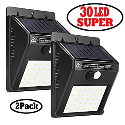 Alptoy 30 LED Super Solar Lights Bright Wireless Outdoor Waterproof Solar Powered Motion Sensor Security Wall Lights for Door, Driveway, Garden, Patio, Yard(2 Packs)