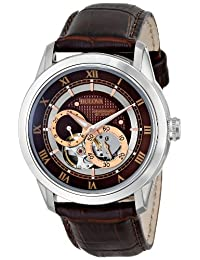 Bulova 96A120 Men's Mechanical Automatic Watch with Brown Dial and Leather Strap
