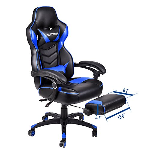 ELECWISH Ergonomic Computer Gaming Chair, PU Leather High Back Office Racing Chairs With Widen Thicken Seat And Retractable Footrest And Lumbar Support, Large, Blue by ELECWISH (Image #8)