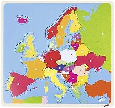 Goki-57509 Puzzles de maderaPuzzles de maderaGOKIPuzzle Europa, Multicolor (57509)