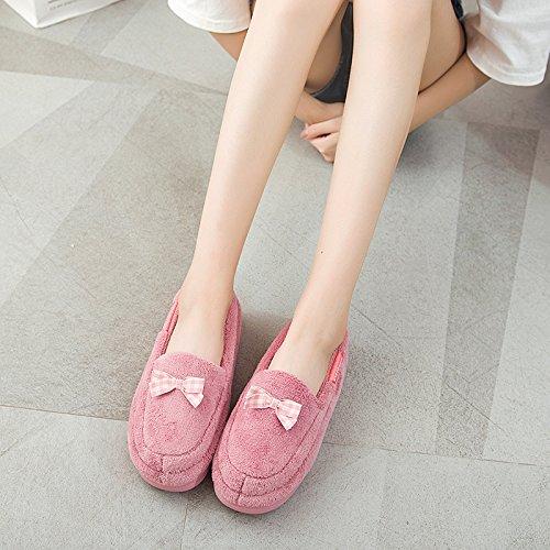 LaxBa Femmes Hommes chauds dhiver Chaussons peluche antiglisse intérieur Cotton-Padded Chaussures Slipper lotus rouge40/41 [Recommandé] à porter code 38-39