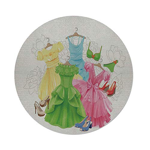 iPrint Cotton Linen Round Tablecloth,Heels and Dresses,Princess Outfits