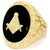 10k Solid Gold Nugget Masonic Onyx Exra Large Mens Ring