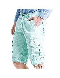 AooToo Mens Cotton Casual Basic Cargo Shorts