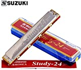Stylezit Suzuki Mouthorgan Harmonica 24-C with Copper Plates ,Silver
