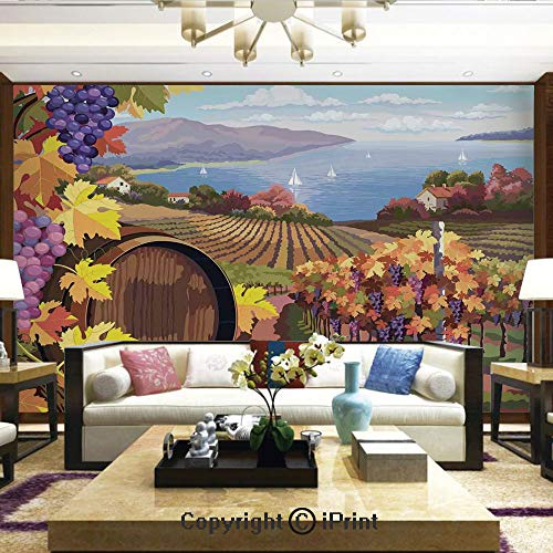 Lionpapa_mural Removable Wall Mural | Self-Adhesive Large Wallpaper,Countryside Landscape in Vineyard Agriculture Winemaking Season Grapes in Farm Art Print,Home Decor - 100x144 inches