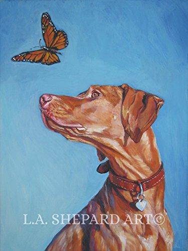 A Vizsla art portrait print of an LA Shepard painting 8x10