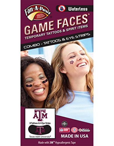 - Fan A Peel Texas A&M University (TAMU) Aggies - Waterless Peel & Stick Temporary Tattoos - 12-Piece Combo - 8 Maroon/White TAM Logo Spirit Tattoos & 4 Maroon/White TAM Logo on Black Eye Strips
