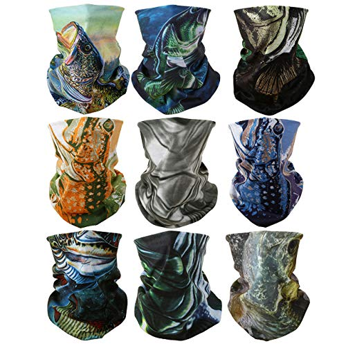 GraceMe Headwear Bandana Multifunction Magic Motorcycle Sunny Sea Outdoor Sport Seamless Colorful Fish Tube Half Face Mask Wrap Neck Cove Headband Scarf 9PCS