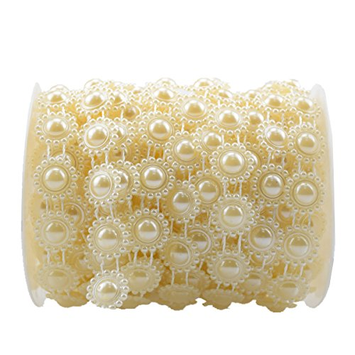 TeTeBak 16mm Pearl Beads Pearls String Roll Like a Big Sun Flower by The Roll for Wedding Decoration(Ivory)