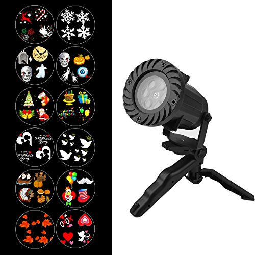 Christmas Lights Projector, Wrcibo Christmas Decorations Colorful LED Lights with Remote and Timer 12 Patterns Light Show Waterproof for Outdoor Indoor Garden Landscape Thanksgiving Holiday (Halloween 2017 Rating)