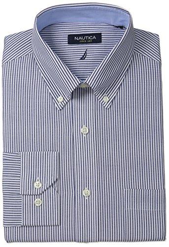 Nautica Men's Engineer Stripe Button-Down Collar Dress Shirt, Navy, 17.5