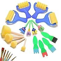 22 Pcs/Set Foam Paint Sponges Brushes Roller Brayer Art Craft Graffiti Paintbrushes Set for Kids by Crqes