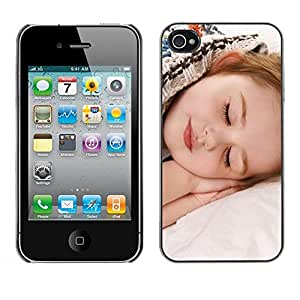FECELL CITY // Duro Aluminio Pegatina PC Caso decorativo Funda Carcasa de Protección para Apple Iphone 4 / 4S // Sleep Tired Baby Cute Small Kid