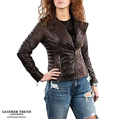 Leather Trend Giacca Donna in Vera Pelle Made in Italy
