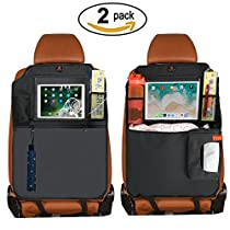 "Kick Mats Auto Car Backseat Protector + 3 Storage Organizer Pockets By ZhuTook with Clear 10"" Ipad Holder and Extra Tissue Storage Bag X-Large Car Backseat Child Kick Guard Seat Saver"