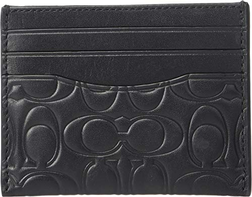 Embossed Card Case - COACH Men's Card Case in Embossed Signature Leather Black One Size