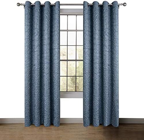 ChadMade Versus Extra Wide Wrinkle Blackout Curtain Drape Antique Bronze Grommet 100W x 96L Inch 1 Panel for Bedroom Living Room Club Restaurant, Navy